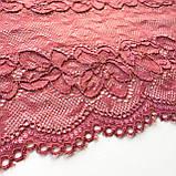 """Еластичне (стрейчевое) мереживо рожевого кольору (""""пильна троянда""""). Ширина 16 див., фото 5"""