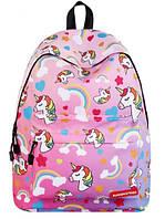 Рюкзак молодежный Единороги Розовый RT, фото 1