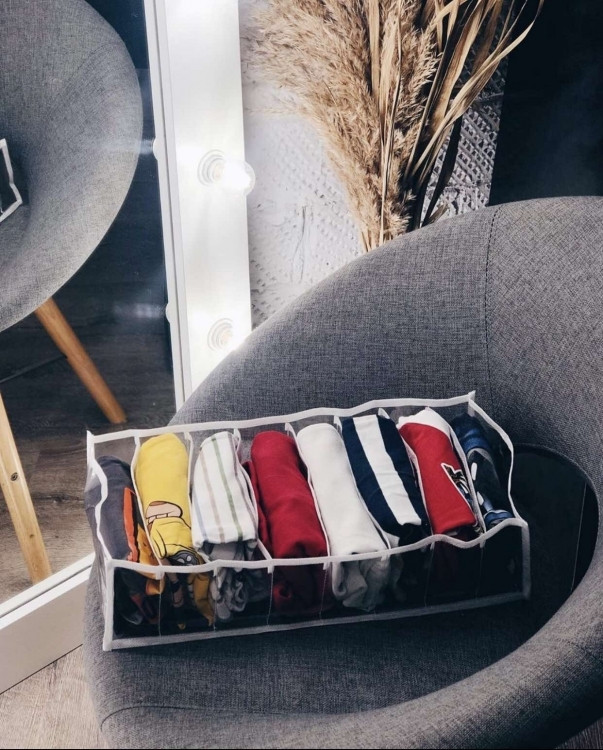 Прозорий органайзер для футболок, боді, регланів 39х25х9 см L (Білий)