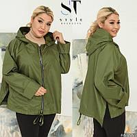 Жіноча осіння куртка,вільного крою,оливковий 50-52,54-56, 58-60, фото 1