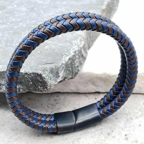 Плетений шкіряний браслет на руку для чоловіків Айдан 176214