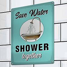 Табличка інтер'єрна металева Save water shower together