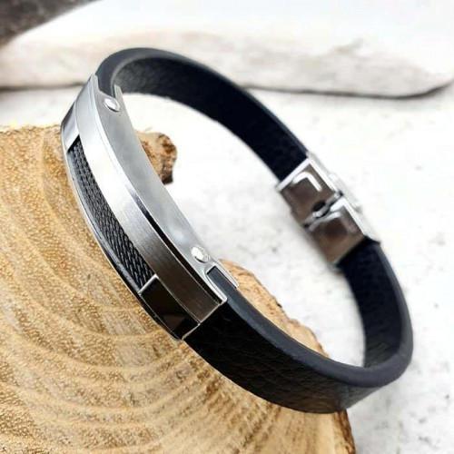 Черный браслет из натуральной кожи мужской Вермонт 176215