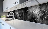 Виниловый кухонный фартук Капли дождя на стекле (наклейка для кухни ПВХ пленка скинали) Текстуры Серый 600*2500 мм