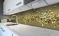 Виниловый кухонный фартук Золото 3Д (наклейка для кухни ПВХ пленка скинали) кубы абстракция Текстуры Желтый 600*2500 мм