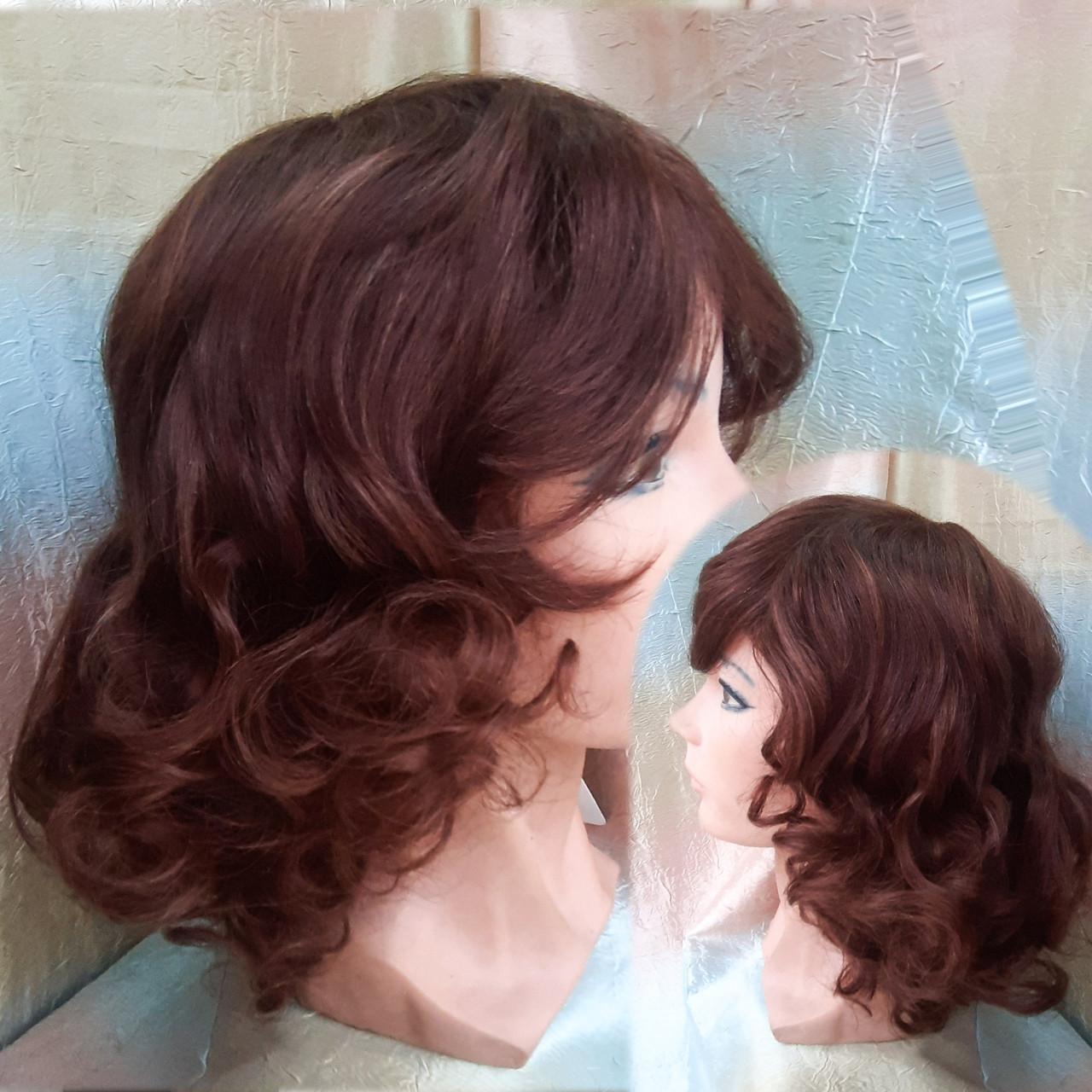 Парик из натуральных волос удлиненный каскад каштановый ANGELIKA- 33