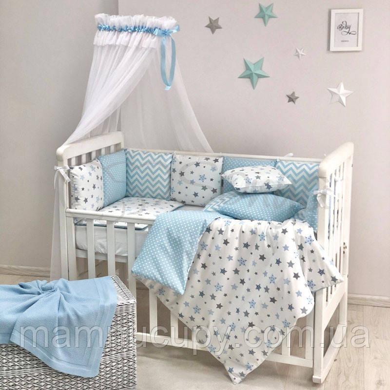Комплект постільної білизни в стандартну ліжечко Baby Design Stars блакитний ТМ «Маленька Соня»