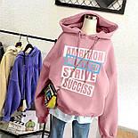 Женское свободное худи из трехнитки на флисе с надписью и капюшоном 6804880, фото 2