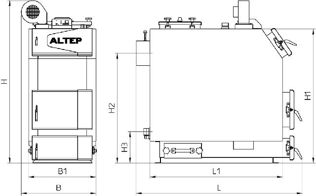 Габаритні розміри котел АЛЬТЕП TRIO UNI PLUS 50 кВт Фото-1
