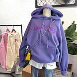 Женское теплое худи из трехнитки на флисе с вышитой надписью и капюшоном 6804881, фото 4