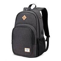 Стильный городской рюкзак Golden Wolf GB00377 с кодовым замком (Черный)