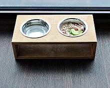 КІТ-ПЕС by smartwood Мискa на подставке   Миска-кормушка металлическая для собак щенков S - 2 миски 450 мл
