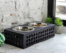 КІТ-ПЕС by smartwood Мискa на подставке   Миска-кормушка металлическая для собак щенков - 2 миски 750 мл