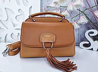 Женская сумка рыжая структурная, фото 1