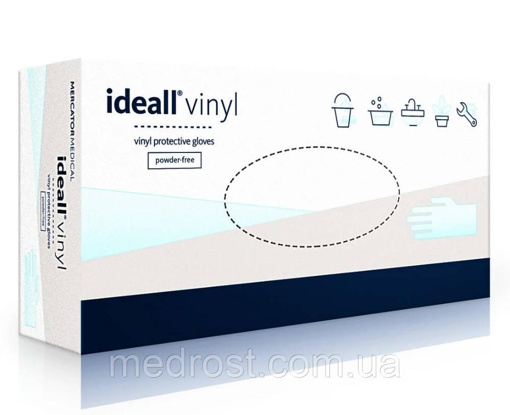 Перчатки виниловые неопудренные IDEALL р.S, 100 шт