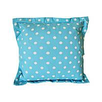 Стильна яскрава подушка для декору 40*40 в горохи