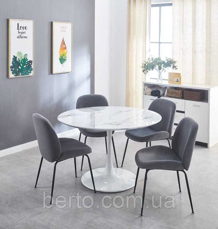 Большой круглый стол белого цвета D120 см. Vetro T-321