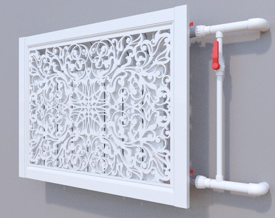 Декоративная решетка на батарею SMARTWOOD   Экран для радиатора   Накладка на батарею Короб, Без отделки, 600*1200