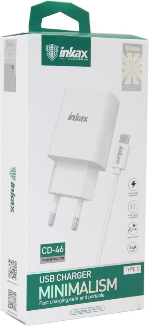 Сетевое зарядное устройство Inkax CD-46 (1 usb 2.4А+Lightning) (Белый)