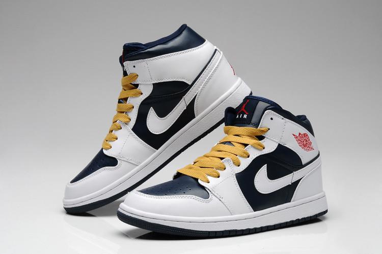 dfcb56ef Баскетбольные Кроссовки Nike Air Jordan 1 Black-white-yellow — в ...