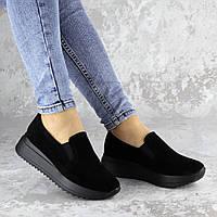 Слипоны женские натуральные Fashion Dare 2204 36 размер 23,5 см Черный