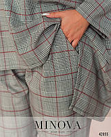 Оригинальный брючный костюм в клетку с блузой свободного кроя с асимметричным подолом с 46 по 64 размер, фото 4