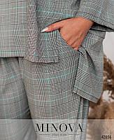 Оригинальный брючный костюм в клетку с блузой свободного кроя с асимметричным подолом с 46 по 64 размер, фото 6