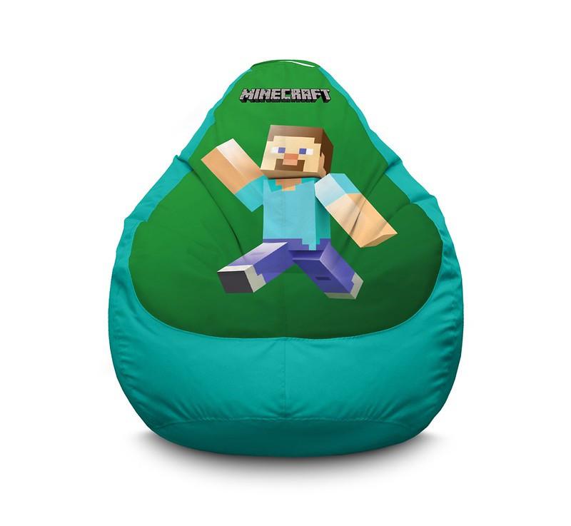 """Кресло мешок """"Minecraft Happy Steve Green"""" Оксфорд"""