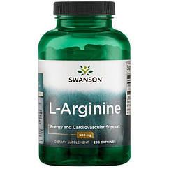 Swanson L-Arginine 500 mg, L-Аргінін (200 кап)