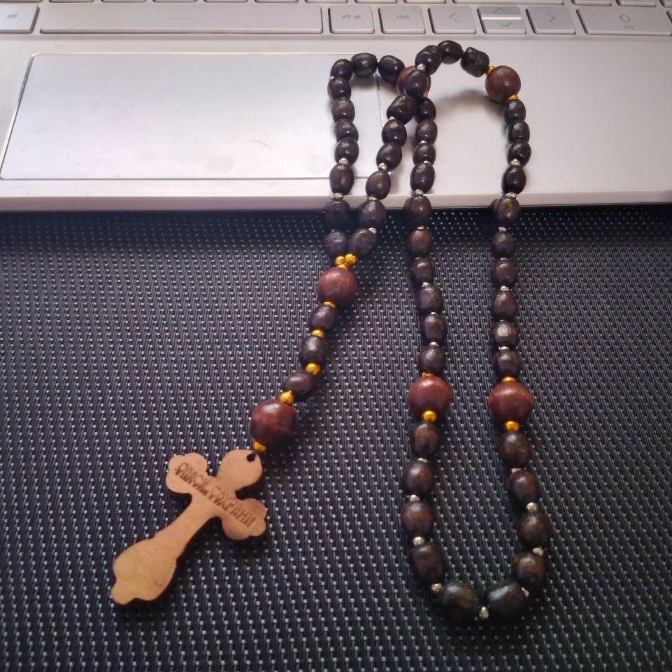 Дерев'яні чотки з великим хрестом на 59 намистин (+Відеоогляд)