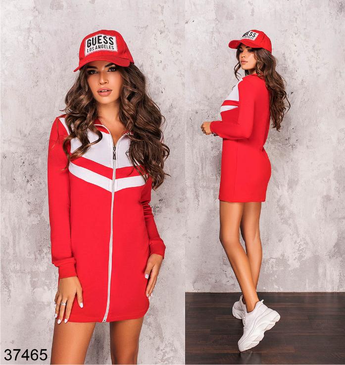 Красное спортивное платье на молнии Украина Размеры: 42-44, 46-48