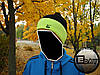 Тёплая шапка с бубоном Nike чёрно-салатовая на флисе