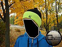 Тёплая шапка с бубоном Nike чёрно-салатовая на флисе, фото 1