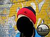 Тёплая шапка с бубоном Nike тёмно-синяя с красным на флисе