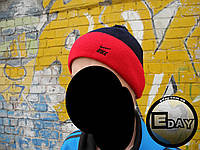 Тёплая шапка с бубоном Nike тёмно-синяя с красным на флисе, фото 1