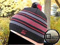 Тёплая шапка с бубоном Nike чёрная с красным на флисе