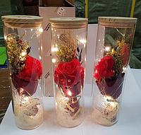 Стабилизированная РОЗА В КОЛБЕ С LED ПОДСВЕТКОЙ, ночник, вечная роза, 25 СМ. Подарок девушке!