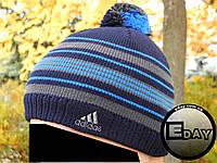 Тёплая шапка с бубоном Adidas трёхцветная на флисе, фото 1