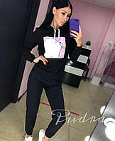 Жіночий спортивний костюм з капюшоном двунить з принтом, фото 1