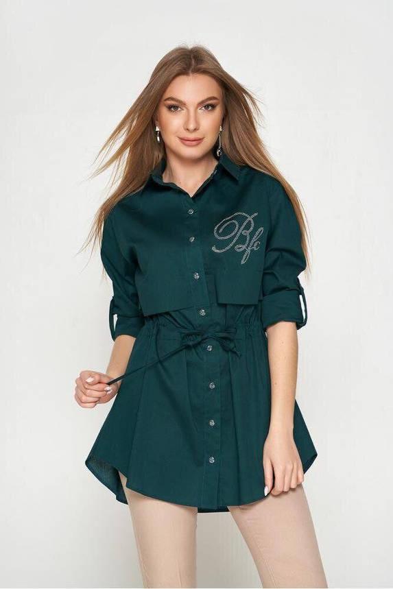Длинная хлопковая рубашка с поясом и стразами зеленая, 54, фото 2