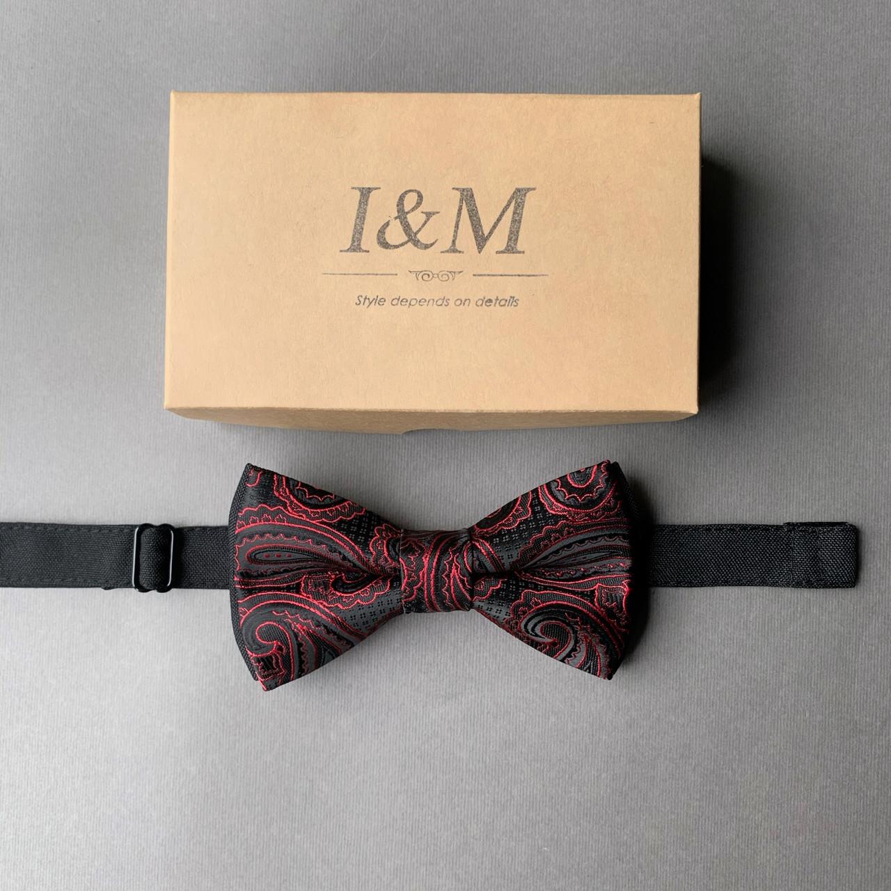 Галстук-бабочка I&M Craft черный с красными узорами (0101003LEBL)