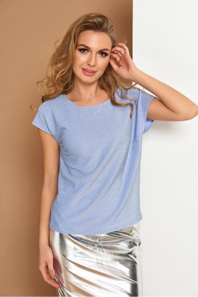 Красивая блузка с коротким рукавом голубая, XL(50)