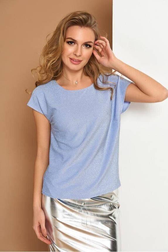 Красивая блузка с коротким рукавом голубая, XL(50), фото 2