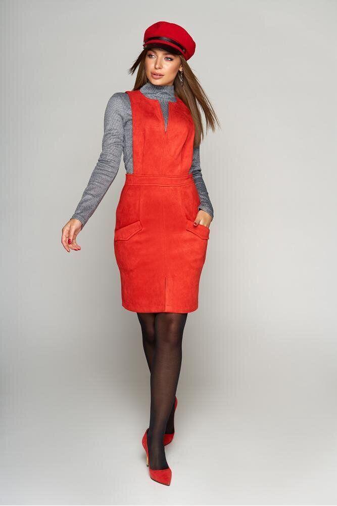 Женский сарафан для офиса замшевый красный, XL(50)