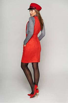 Женский сарафан для офиса замшевый красный, XL(50), фото 2