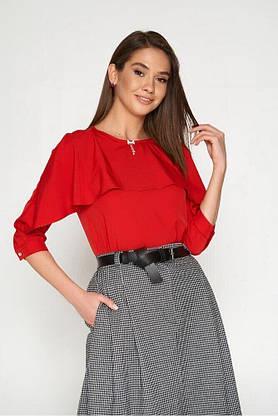 Модная блузка с пелериной красная, XL(50), фото 3