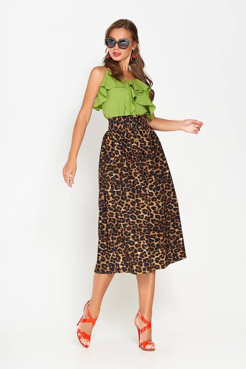 Юбка миди с высокой талией и леопардовым принтом, XL(50)