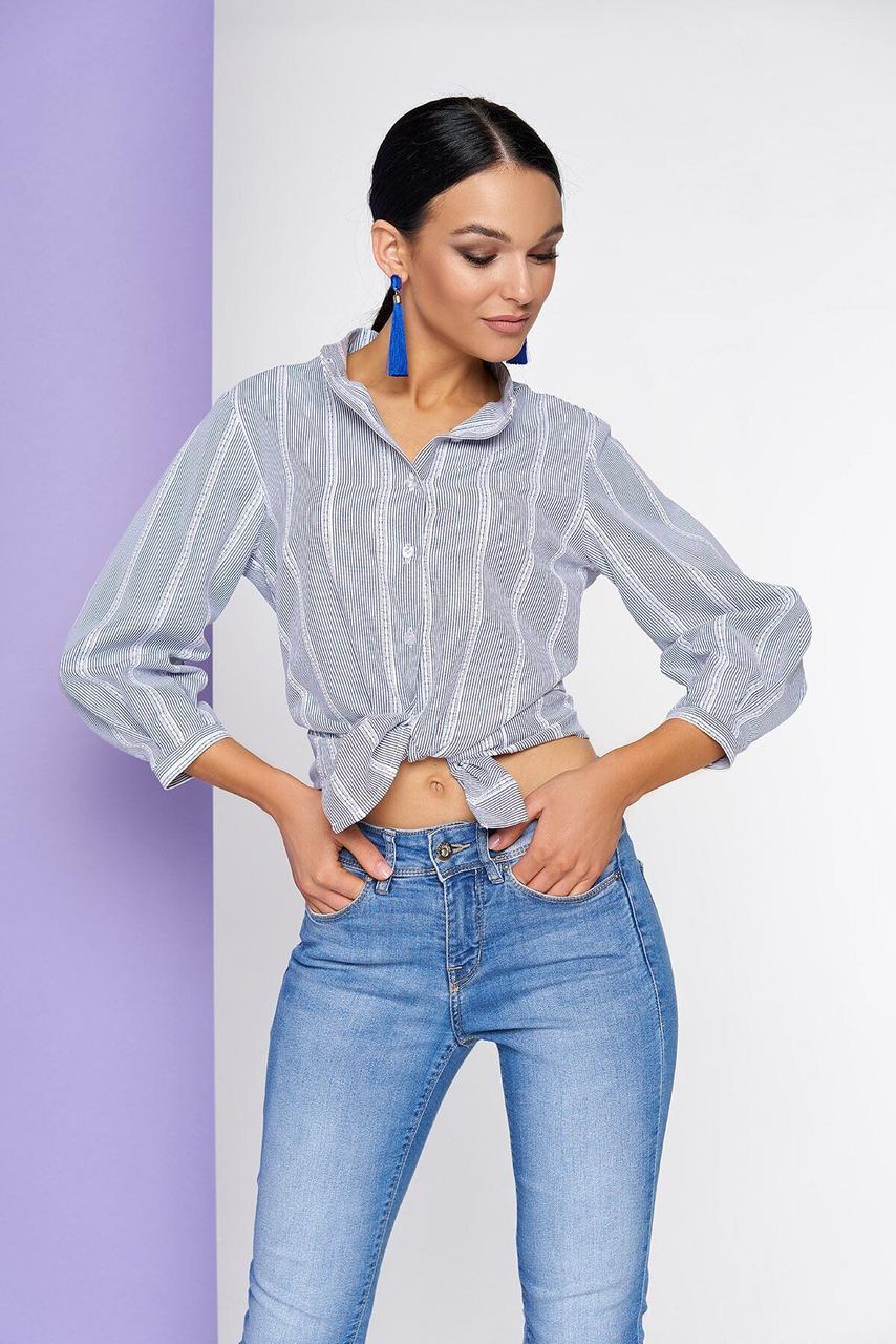 Женская хлопковая рубашка в полоску серого цвета, XL(50)
