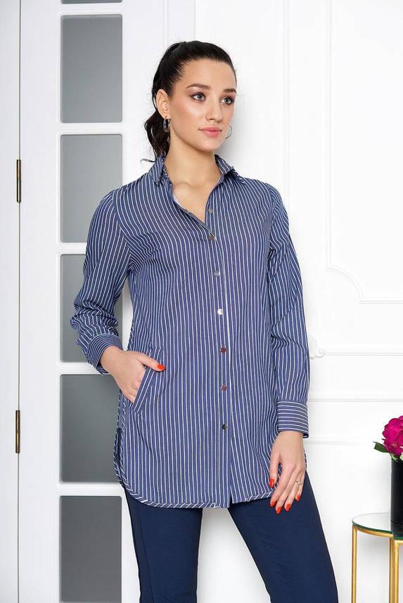 Удлиненная женская рубашка в полоску синего цвета, 54, фото 2
