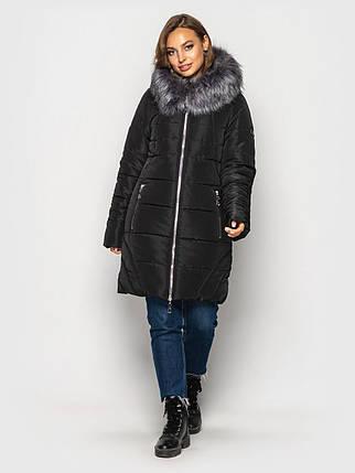 Женская зимняя куртка с мехом стеганая черного цвета, 60, фото 2